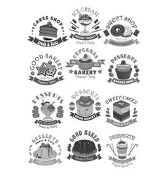 Bakery shop pastry and desserts icons vector