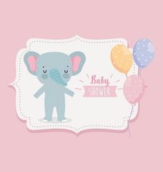 bashower cute elephant with balloons cartoon vector image