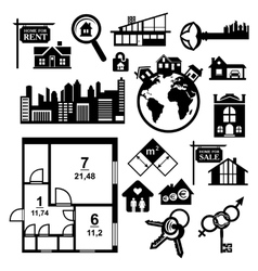 Big real estate icons set vector