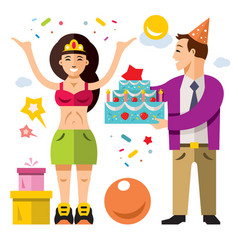 birthday flat style colorful cartoon vector image