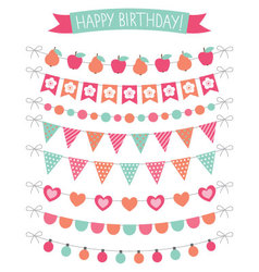 Birthday party decoration set vector
