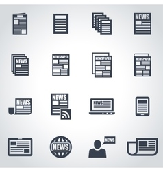 black newspaper icon set vector image
