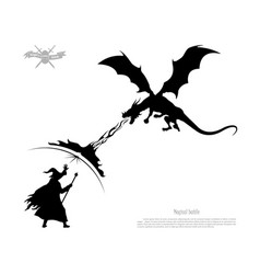 Black silhouette of battle of wizard with dragon vector