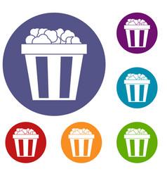 box of popcorn icons set vector image