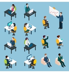 Business people isometric pictograms collection vector