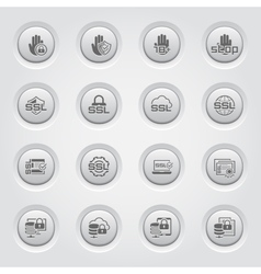 Button Design Security and Protection Icons Set vector image