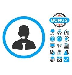 Call Center Operator Flat Icon with Bonus vector image