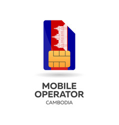cambodia mobile operator sim card with flag vector image