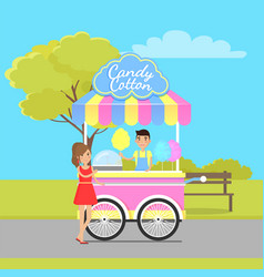 candy cotton mobile shop located in city park vector image