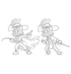 Cartoon musketeer with sword character set vector