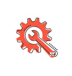cartoon service tool icon in comic style cogwheel vector image