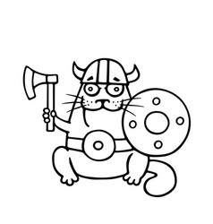 cat viking with an ax and shield vector image