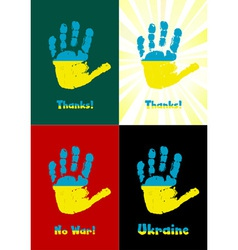 Childs handprint paint the flag of Ukraine vector