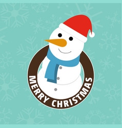 christmas card with snowman and pattern background vector image