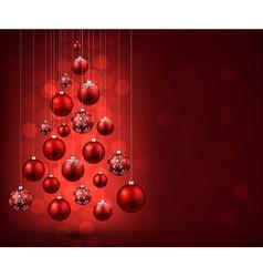 Christmas tree with red christmas balls vector image