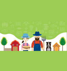 Couple of farmers characters with icons background vector