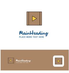 creative video logo design flat color logo place vector image
