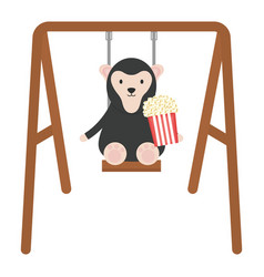 cute monkey with popcorn in swing vector image