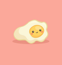 cute sunny side up fried egg breakfast food vector image