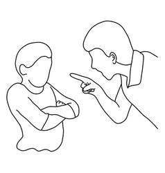 dad scolding his son outline sketch vector image