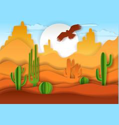 desert landscape paper art vector image