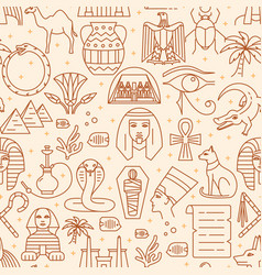 egypt seamless pattern in thin line style vector image