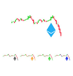 Ethereum falling chart icon vector