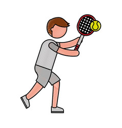 Ethlete practicing tennis avatar vector