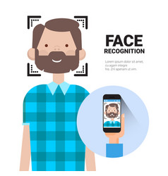 Face recognition hand holding smart phone scanning vector