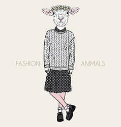 Fashion of cute ship girl in wool knitted pullover vector image