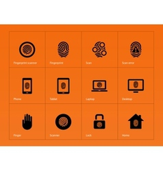 Fingerprint icons on orange background vector image