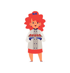 girl in a professional chef costume cooking flat vector image
