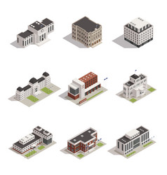 Government buildings isometric icons set vector