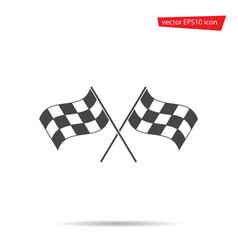 gray checkered flag icon motocross vector image