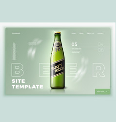 green beer bottle on bright site template vector image