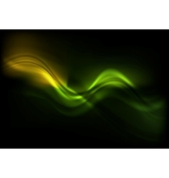 Green orange wavy design on black background vector