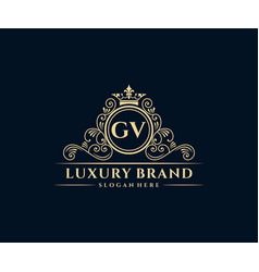 Gv initial letter gold calligraphic feminine vector