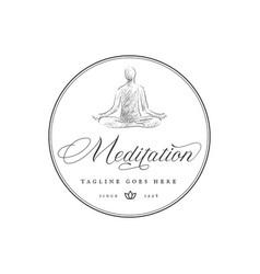 Hand drawn human meditation circle emblem and vector