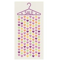 Hanger with heart garland Sale banner vector image