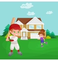 Happy boy playing baseball kids sport childrens vector