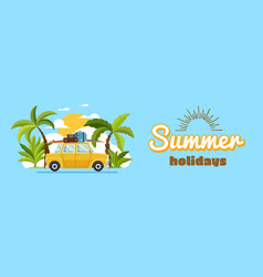Happy family driving in car on weekend holiday vector