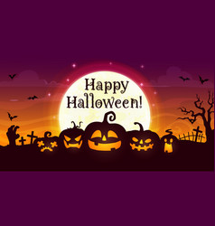 happy halloween banner with scary pumpkins vector image