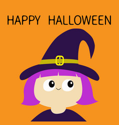 happy halloween witch girl wearing curl hat vector image