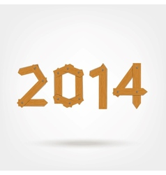 Happy new year 2014 made from wooden boards for vector image