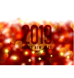 happy new year background with bokeh lights and vector image