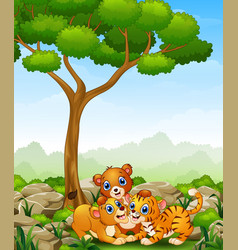 Happy wild animal cartoon in the jungle vector
