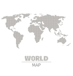 Hexagonal dots world map on white background vector image