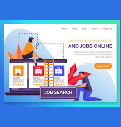 Hr and employee job search website banner vector