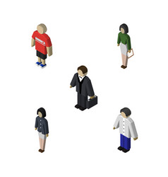 Isometric human set of girl investor pedagogue vector