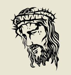 jesus christ face sketch drawing vector image